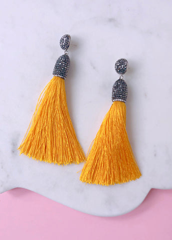 Eliza Shimmering Tassel Earrings - Yellow