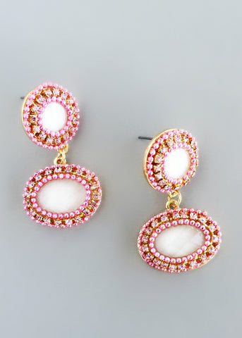 Beaded Rose Sherbet Earrings