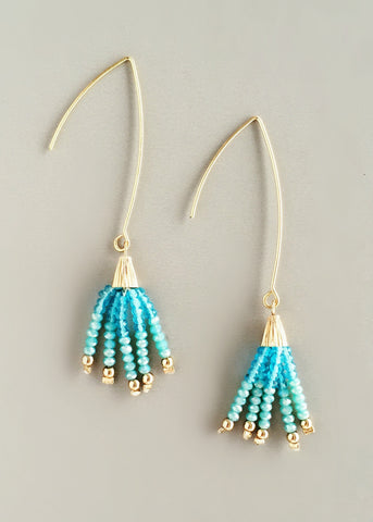Aqua Tassel Earrings