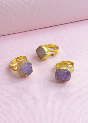 Gold Plated Druzy Ring