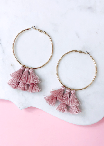 Blush Tassels Hoop Earrings