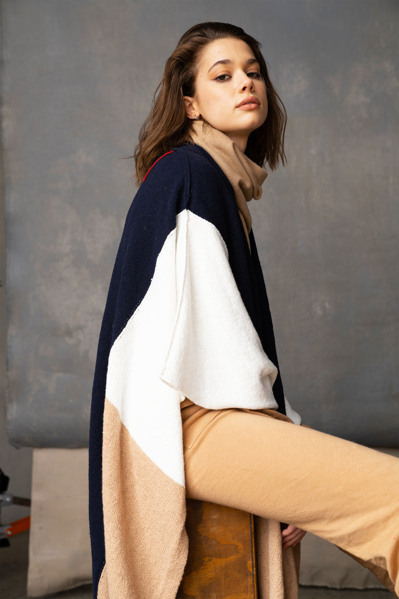 Irene - Cool Navy, Cream and Camel