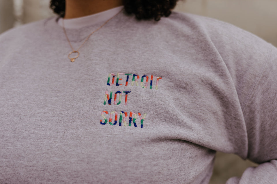 Detroit Not Sorry® Embroidered Cropped Crew