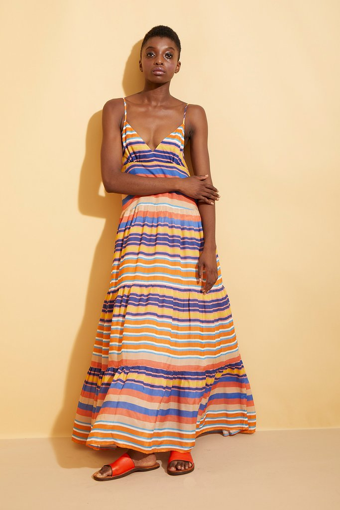 Multi Striped Tiered Maxi Slip