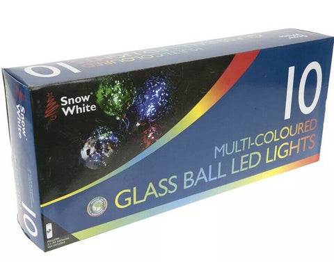 Christmas Tree 10 Stunning Multi Colored Xmas LED Glass Bulbs Battery Operated
