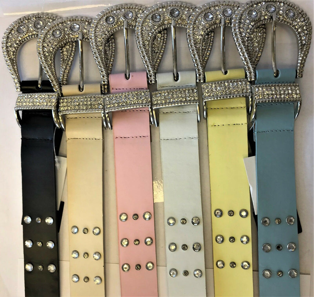 "LADIES WOMEN'S LEATHER BELTS WITH STIRRUP BUCKLE 1.5"" WIDE BELTS IN 7 COLORS"