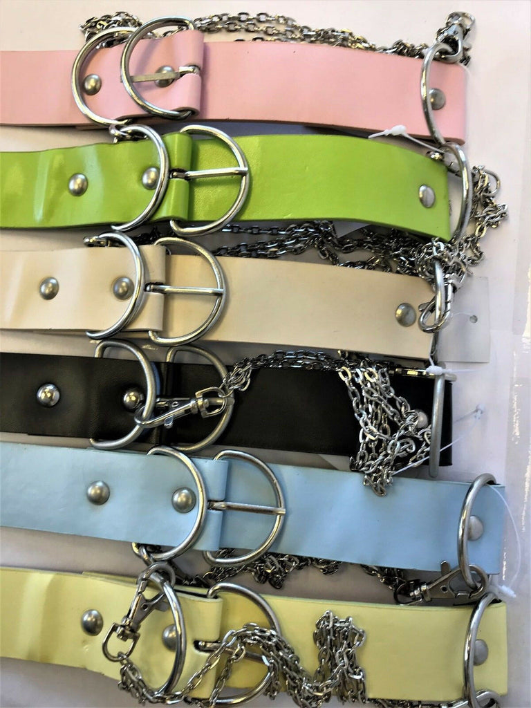 "LADIES FASHION LEATHER BELTS WITH CHAINS 1.5"" WIDE WOMEN'S BELTS IN 6 COLOURS"