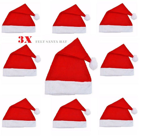 Set Of 3 Red Felt Santa Hats Christmas Santa Claus Costume Accessory Bulk lot