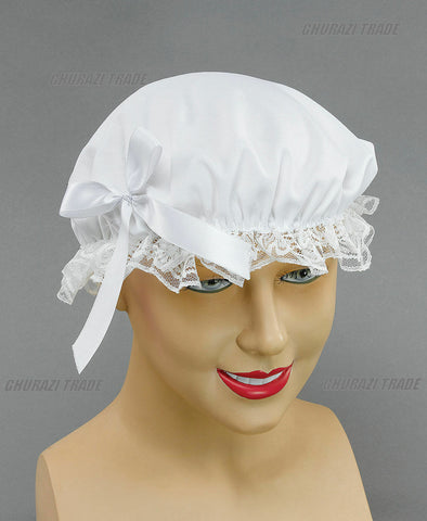 White Victorian Maid Lace Hat Fancy Dress Costume Accessory Mop Mob Hat