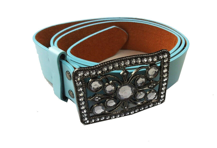 "LADIES WOMENS LEATHER FASHION BELTS WITH SQUARE BUCKLE 1.5"" WIDE BELTS 6 COLOURS"