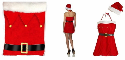New Miss Claus Outfit Red Dresses Christmas Gift Sexy Woman Fancy Costume Party