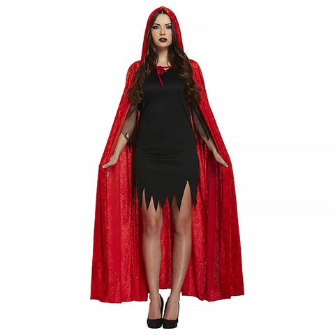Women's Velvet Hooded Cape Red Riding Hood Halloween Fancy Dress Costume Cloak