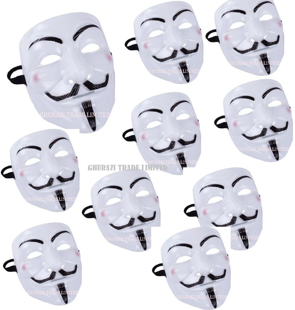 10X Vendetta Face Mask Halloween Bonfire Night Guy Fawkes Anonymous Fancy Dress
