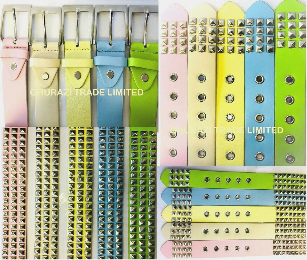 "LADIES 3 ROWS PYRAMIDS STUDS WOMEN'S LEATHER BELTS 1.5"" WIDE BELTS IN 5 COLOURS"