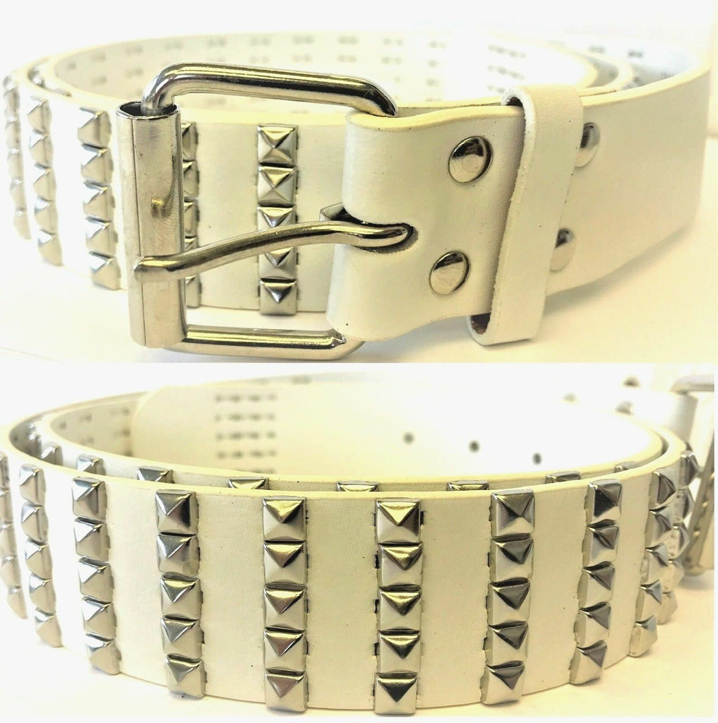 LADIES WOMEN'S REAL LEATHER  WHITE BELTS  SMALL PYRAMIDS  STUDDED STUD BELT 2843