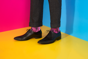 Mens Pink Kush Dope Socks In Dress Shoes