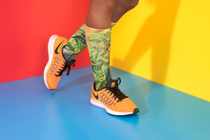 Green Dream Planted Clothing Dope Socks in Orange Nikes