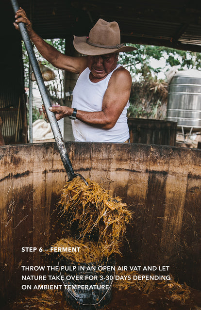 Step 6: Ferment - a man stirring a mash in a large wooden barrel, using a long pitch fork.