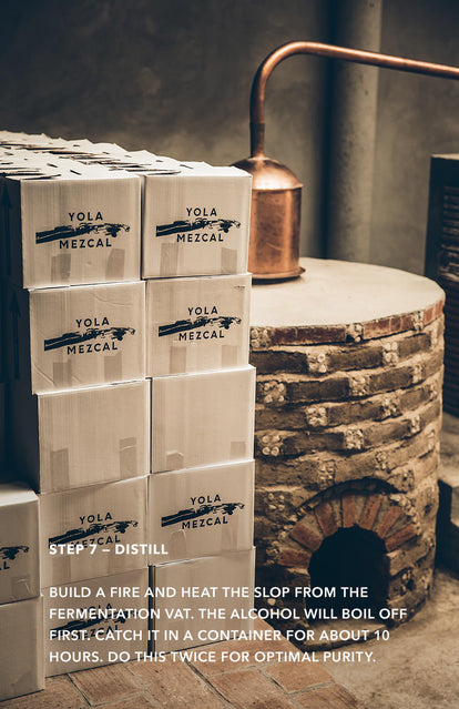 Step 7: Distill - several boxes of Yola Mezcal stacked up next to a brick oven.