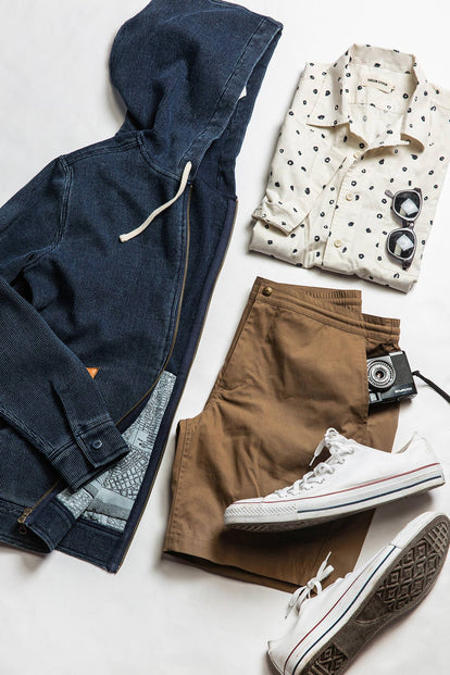 A flatlay of an outfit, including our The Adventure Short in Mushroom.