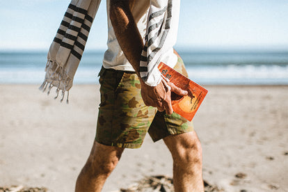 Cropped shot of our guy modeling the outfit above, strolling down a windy beach.