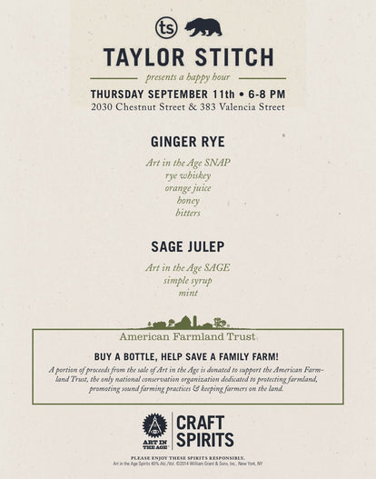 Happy Hour Invitation Flyer, with Ginger Rye and Sage Julep recipe overviews.