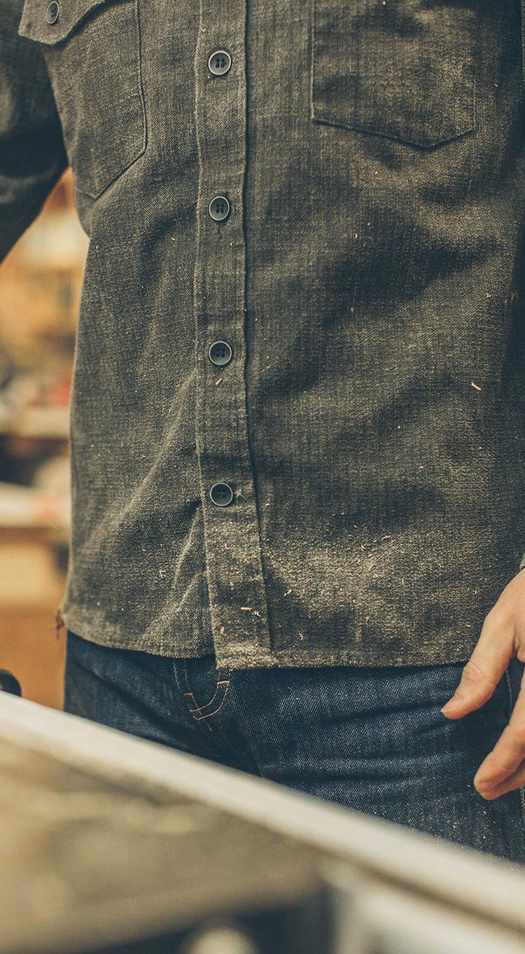 The Utility Shirt in Moss Herringbone