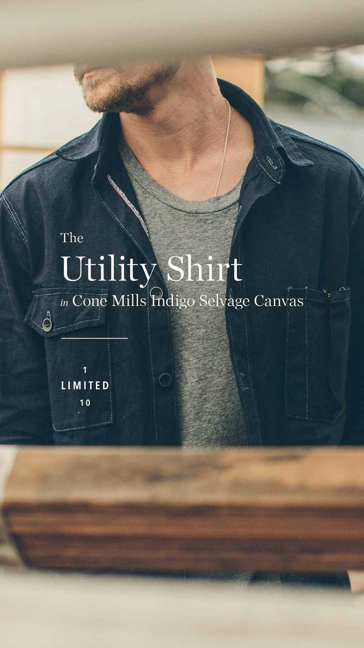 The Utility Shirt in Cone Mills Indigo Selvage Canvas