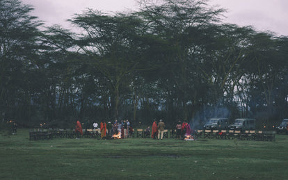 Wide angle shot of empty seats, arranged around two campfires, with people mingling and talking in small groups, with large trees forming a canopy in the background.