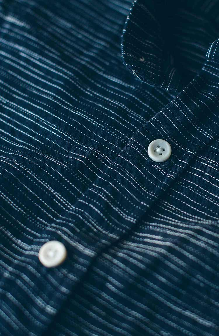 The Short Sleeve Bandit in Navy Slub Stripe