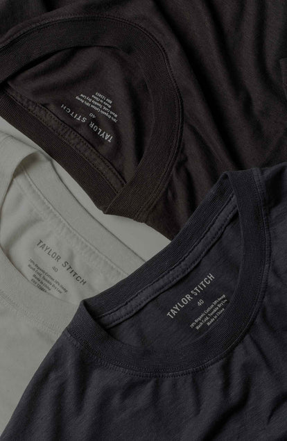 Our three standard tees folded neatly.