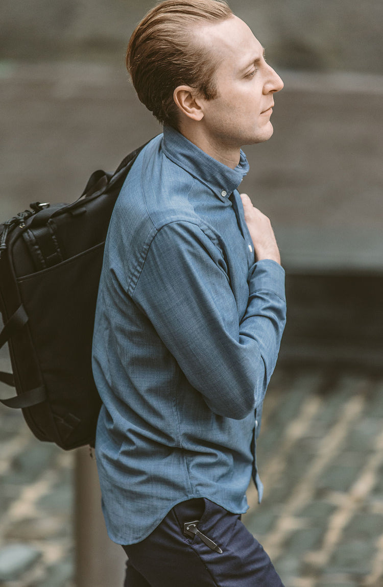 The Blue Merino Jack by CIVIC, worn in San Francisco.