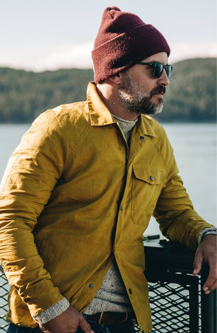 The Summer Collection—our fit model wearing the lombardi in mustard