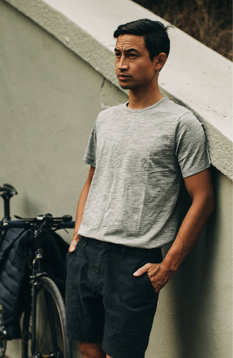 our guy rocking the merino tee with his bike