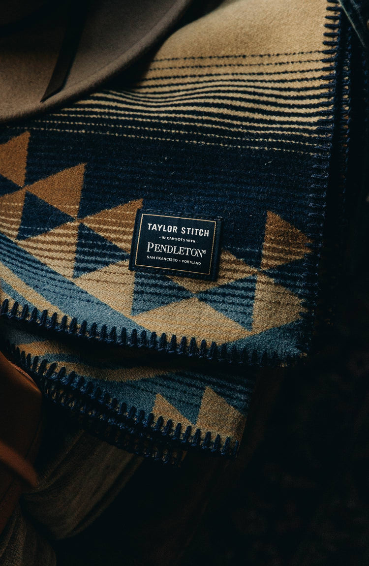 Taylor Stitch x Pendleton, cropped shot with text on the right
