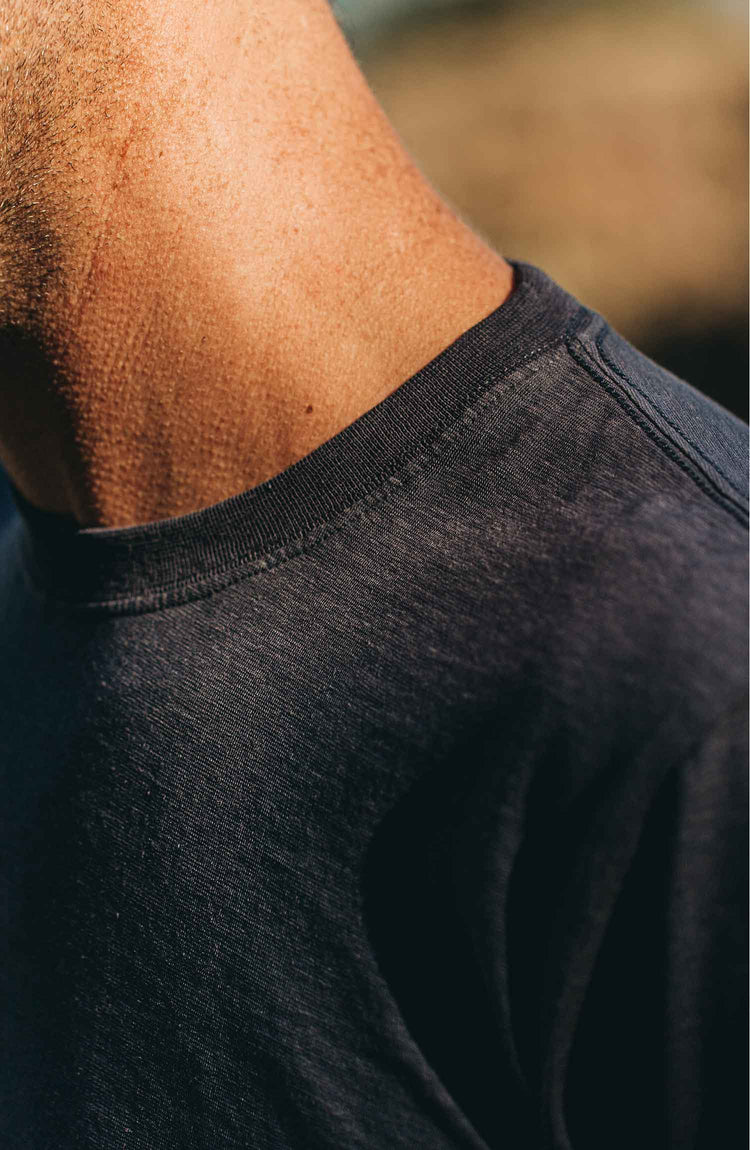 our Cotton Hemp tee in navy–shot of collar and sleeve