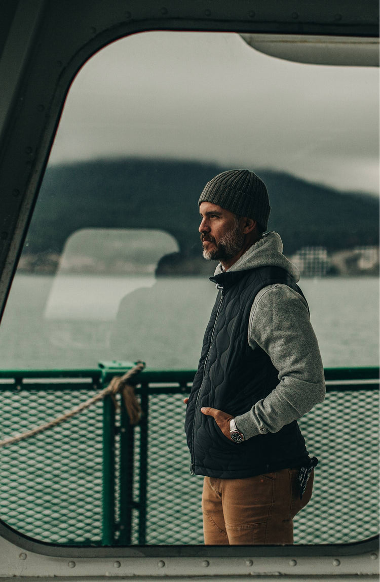 our guy in the PNW wearing the vertical vest—on a ferry