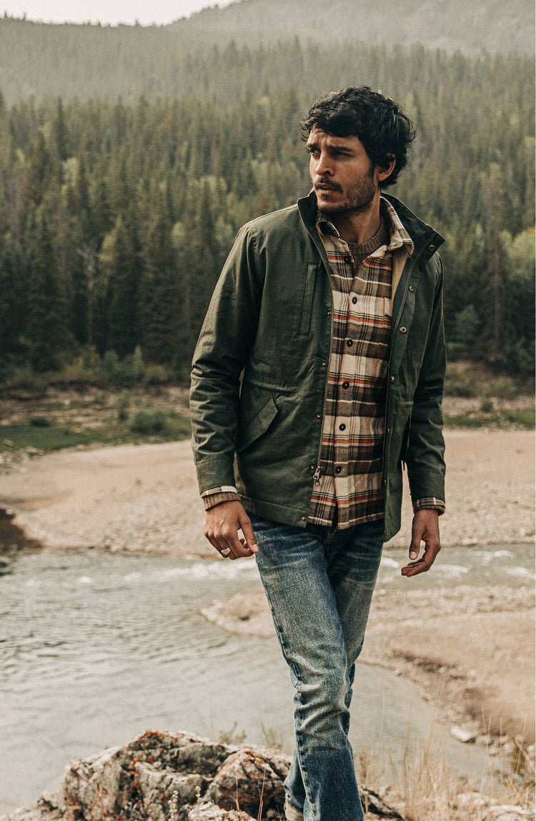 our guy wearing the harris in the woods