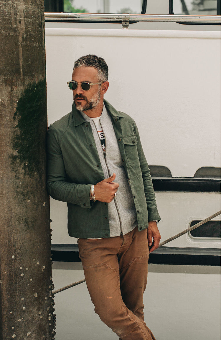 The Summer Collection—our fit model wearing the lombardi in olive