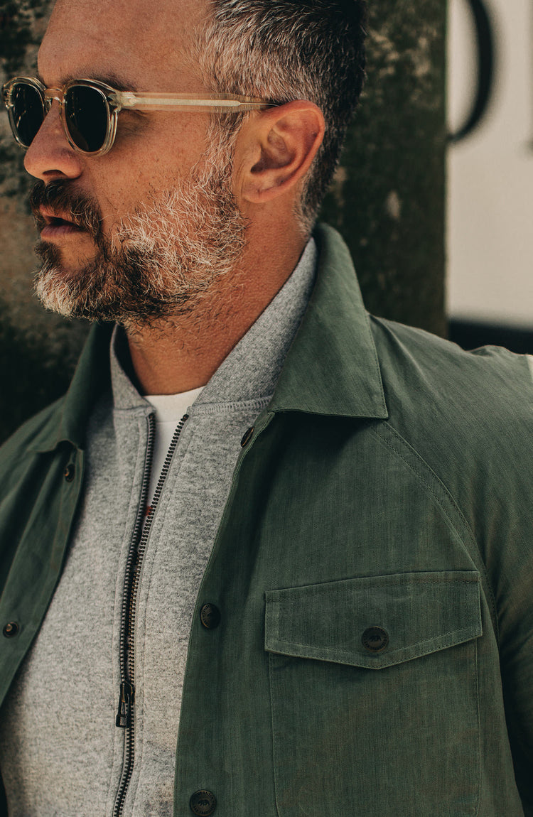 our fit model wearing the lombardi in olive