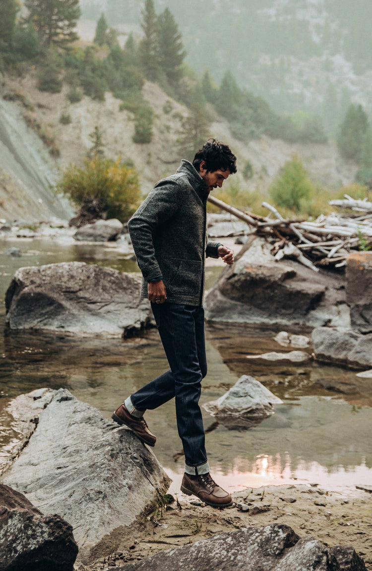 our guy wearing the cone mills reserve jeans in the PNW