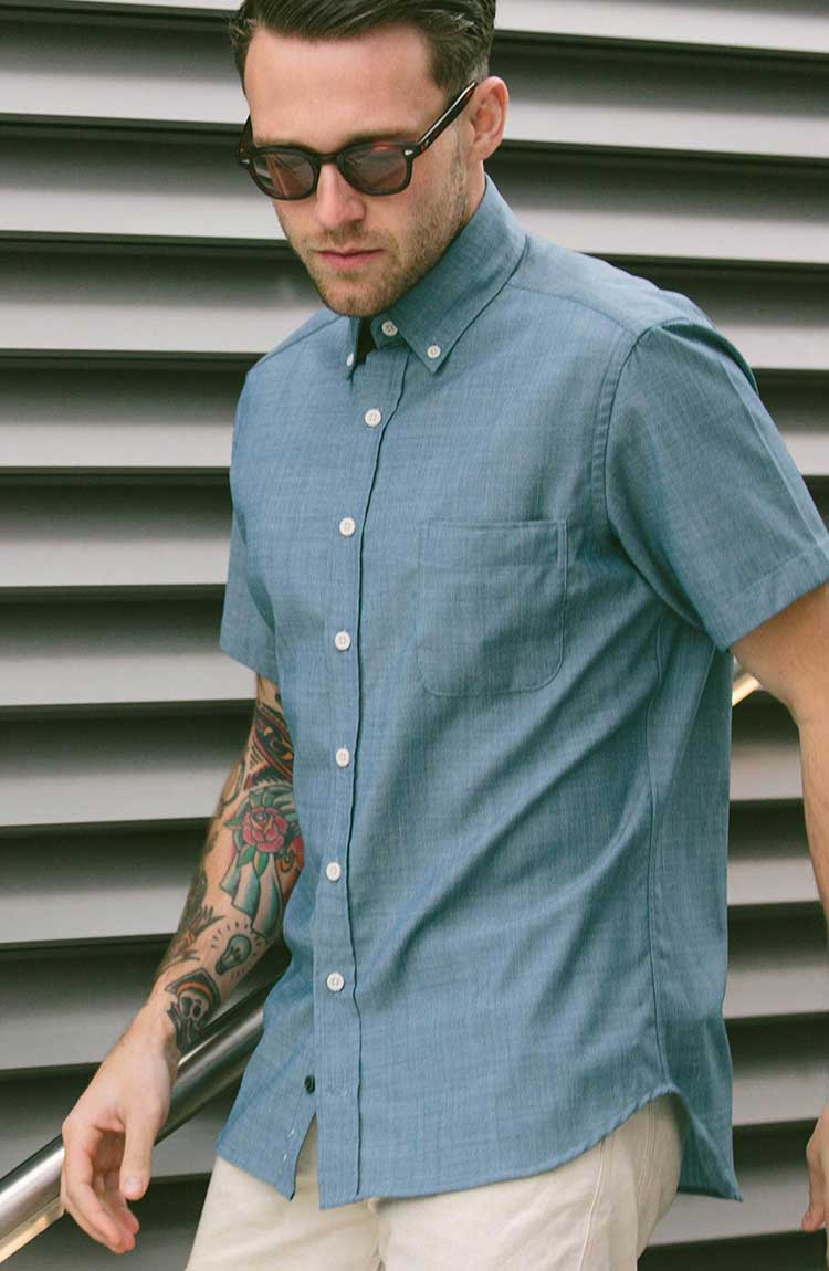 The Short Sleeve Jack in Blue Merino 4S Chambray™