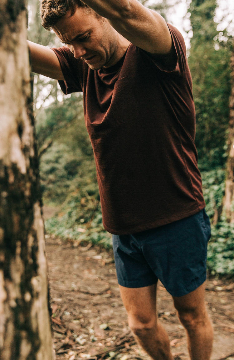 Our guy rocking The Tracksmith Collection traverse short, split shot, on trail run
