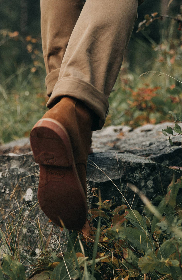 The trench boot, being worn by our fit model outdoors