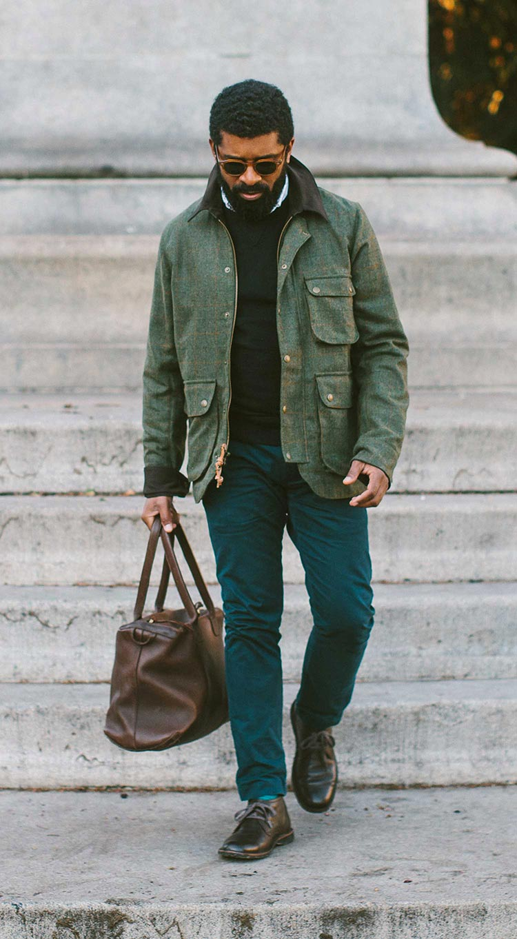 The Rover Jacket in Olive Plaid Waxed Wool