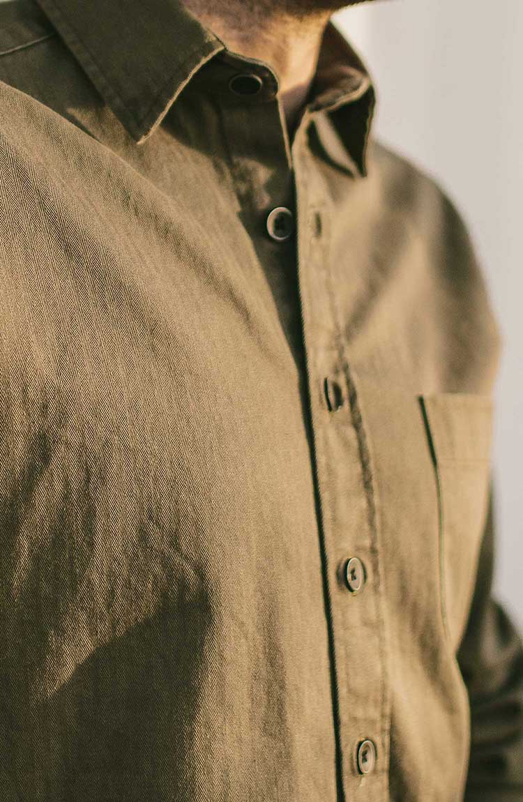 The Mechanic in Washed Olive Herringbone