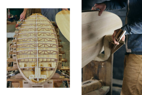 shot of surfboard being made.