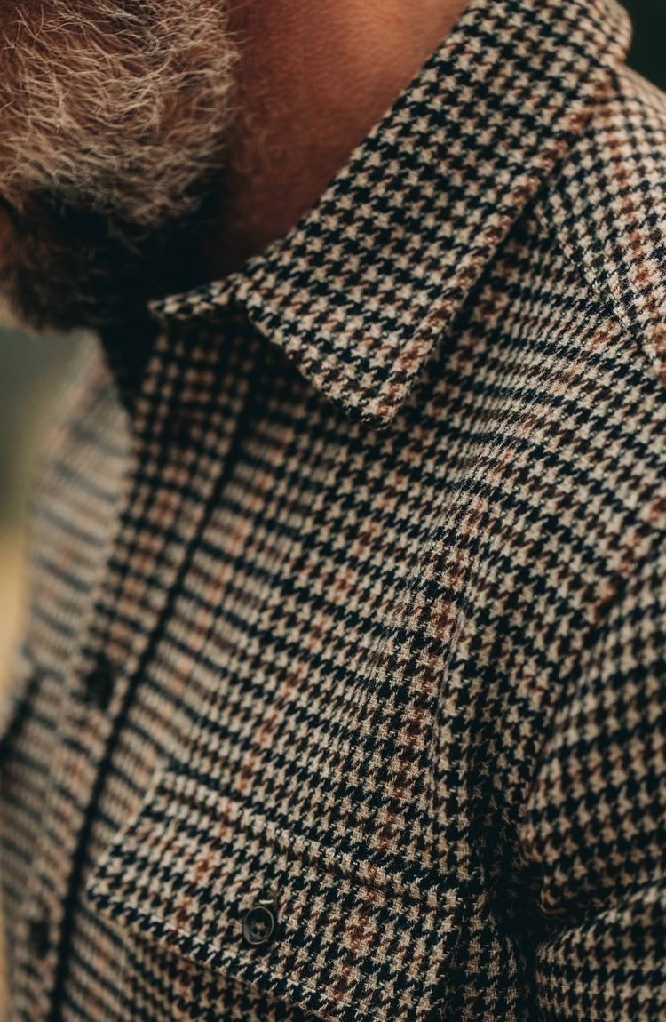 our guy wearing The Leeward Shirt in Houndstooth from the front closeup of chest pocket and fabric texture