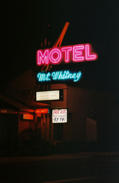 A neon Motel sign, Mt Whitney.