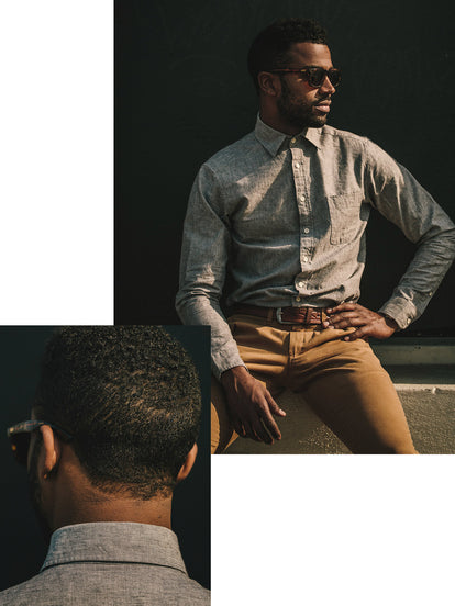 Cropped shot of model seated, showing waistband, belt, and shirt cuffs. Inset shows rear of collar.